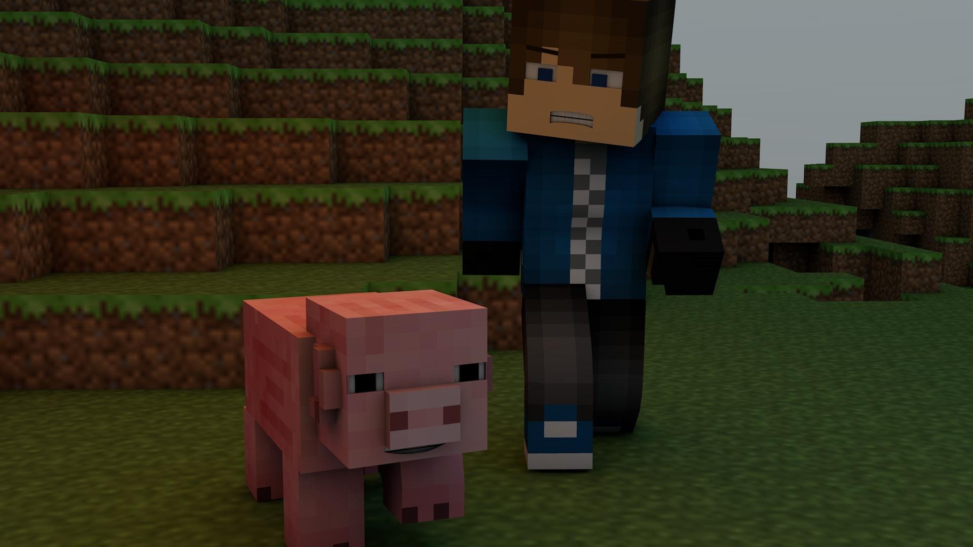minecraft, video game, pig